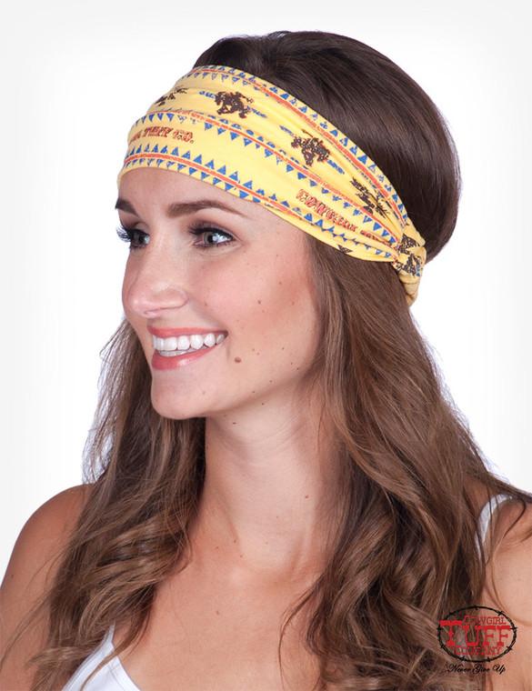 Yellow lux athletic jersey Aztec print headband