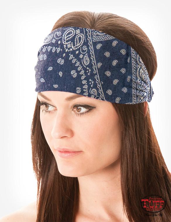 Blue bandana jersey headband