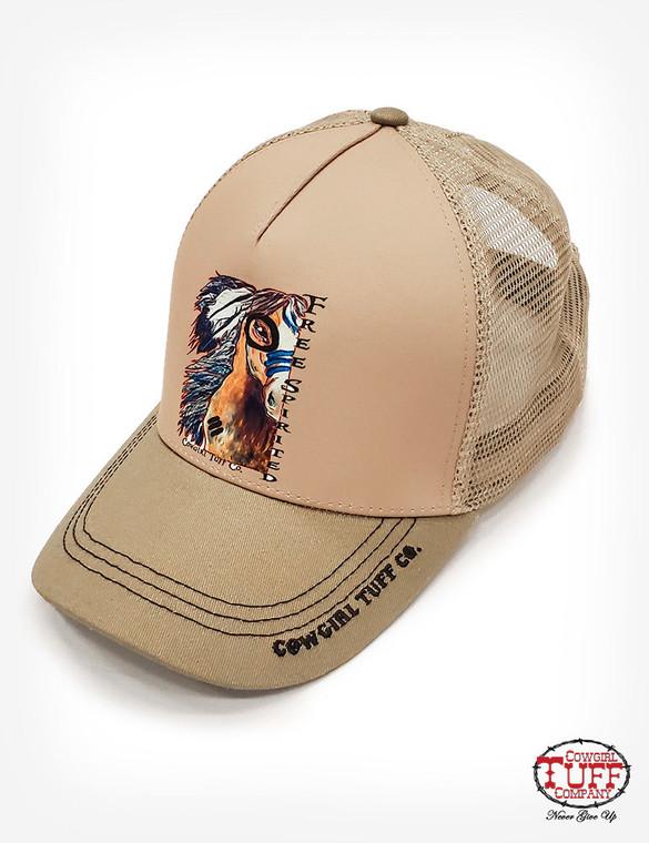 Cream/Horse print cap