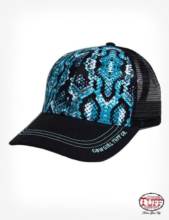 Black trucker cap with turquoise snakeskin panel
