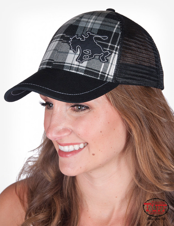 Plaid trucker cap with buckin' horse patch