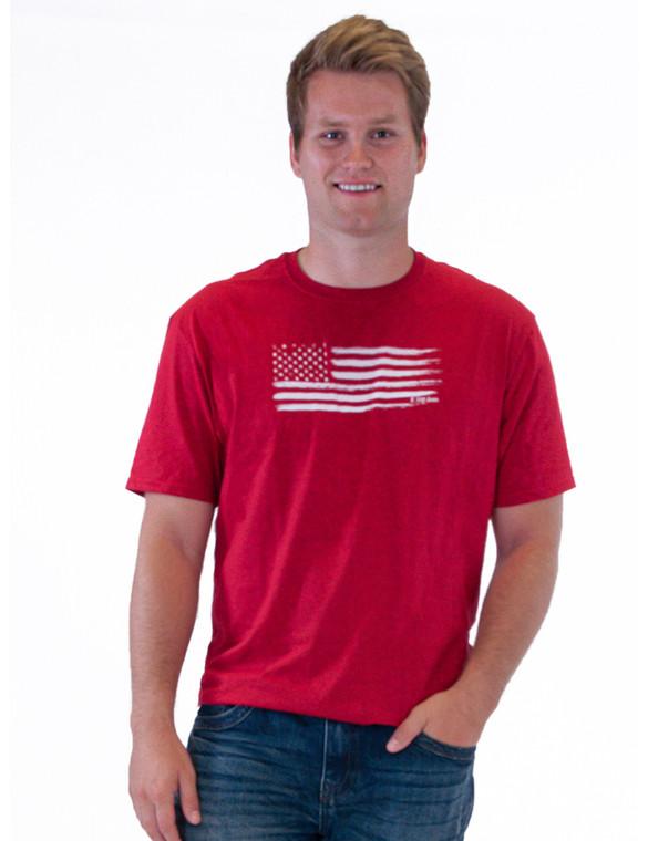 Crewneck Tee with U.S. Flag Print