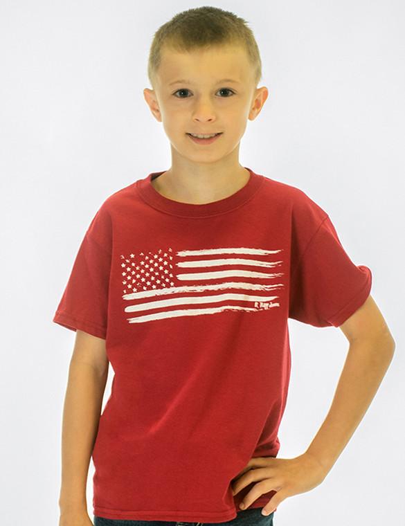 Boy's Crewneck Tee with U.S. Flag Print