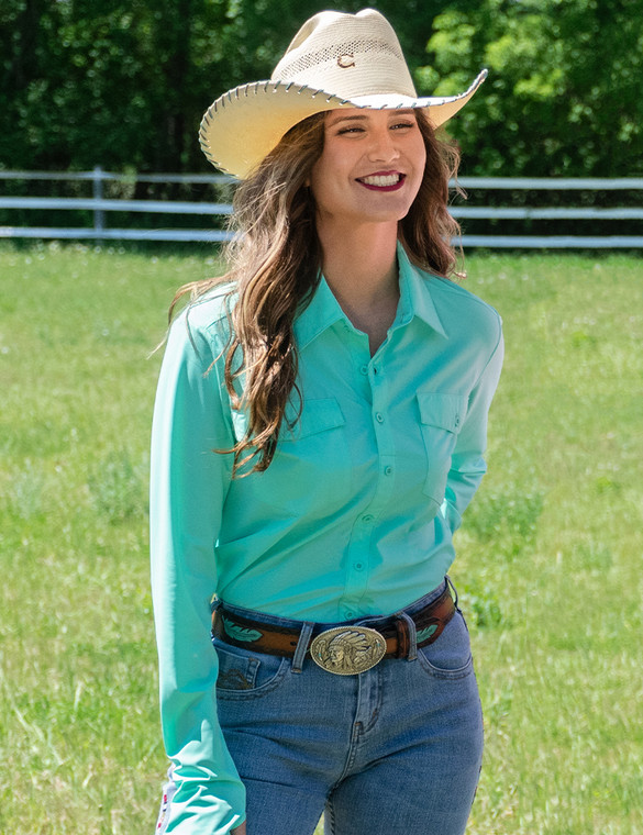 Breathe Pullover Button-Up (turquoise)