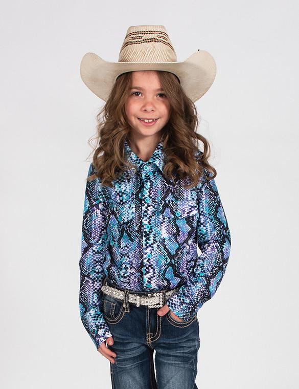 Girls snakeskin print pullover button-up (multi)