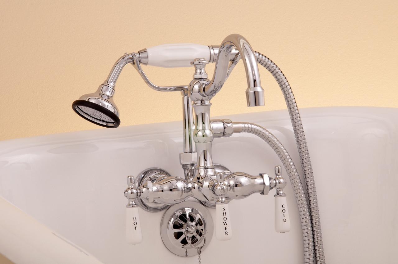Leg Tub Diverter Faucet With Handheld Shower Arched Spout