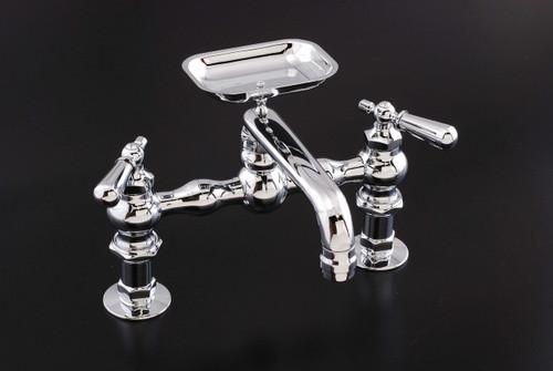 Deck Mount Kitchen Faucet with Soap Dish Spout in Chrome