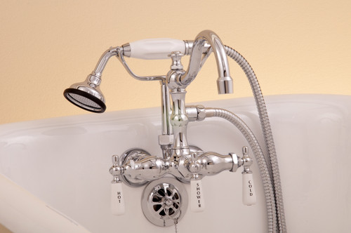Leg Tub Diverter Faucet with Handheld Shower & Arched Spout