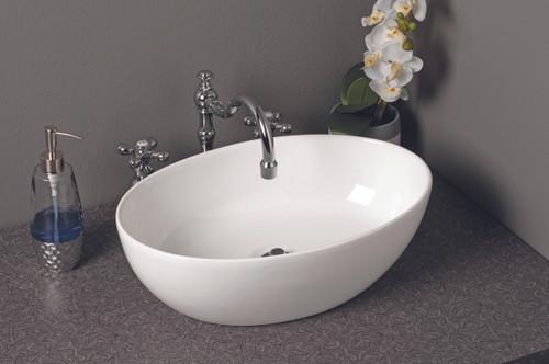 Fireclay Oval Semi Drop-In Sink, Gloss White