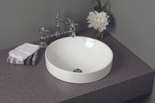 Fireclay Round Semi Drop-In Sink, Gloss White