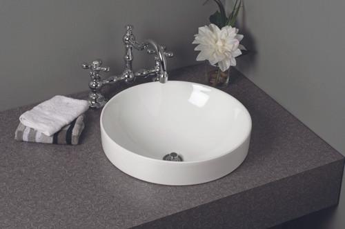 P1179 Fireclay Round Semi Drop-In Sink, Gloss White