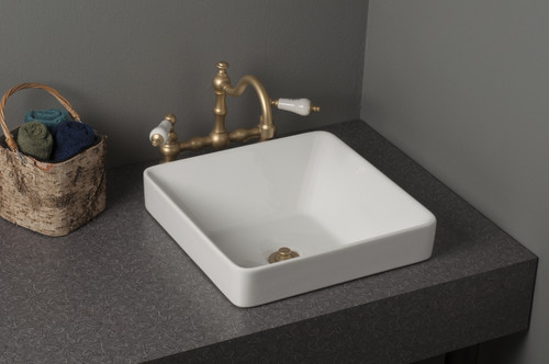 Fireclay Square Semi Drop-In Sink, Gloss White