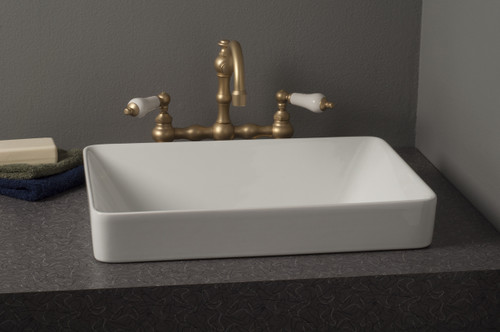 Fireclay Rectangular Semi Drop-In Sink, Gloss White