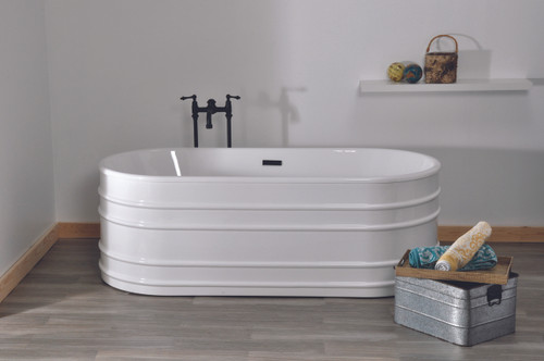 "The Meredith, White 66"" Acrylic Trough Tub"