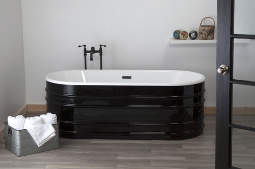 "The Meredith, Black & White 66"" Acrylic Trough Tub"