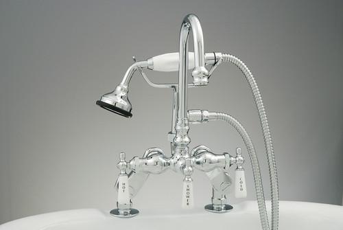 Deck Mount Gooseneck Tub Faucet with Hand Shower