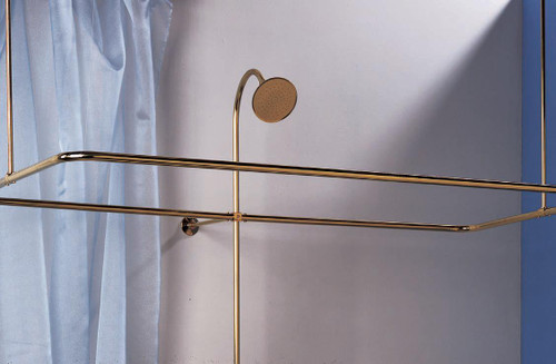 Pictured with riser and shower head in supercoated brass (not included).