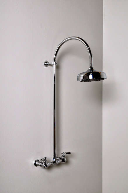 Exposed Shower Set with Gooseneck Riser and Lever Handles