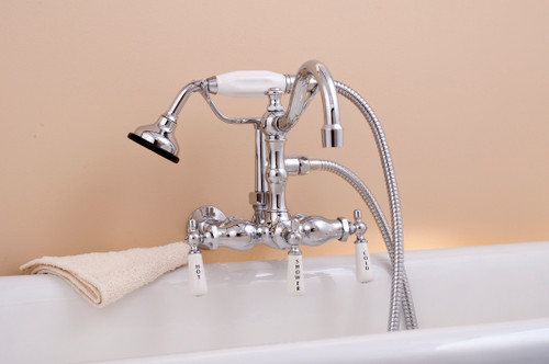 P1055 Wall Mount Faucet with Handheld Shower and Lever Handles