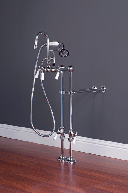 P0972 Gooseneck Faucet with Handshower and Freestanding Supply Lines Kit