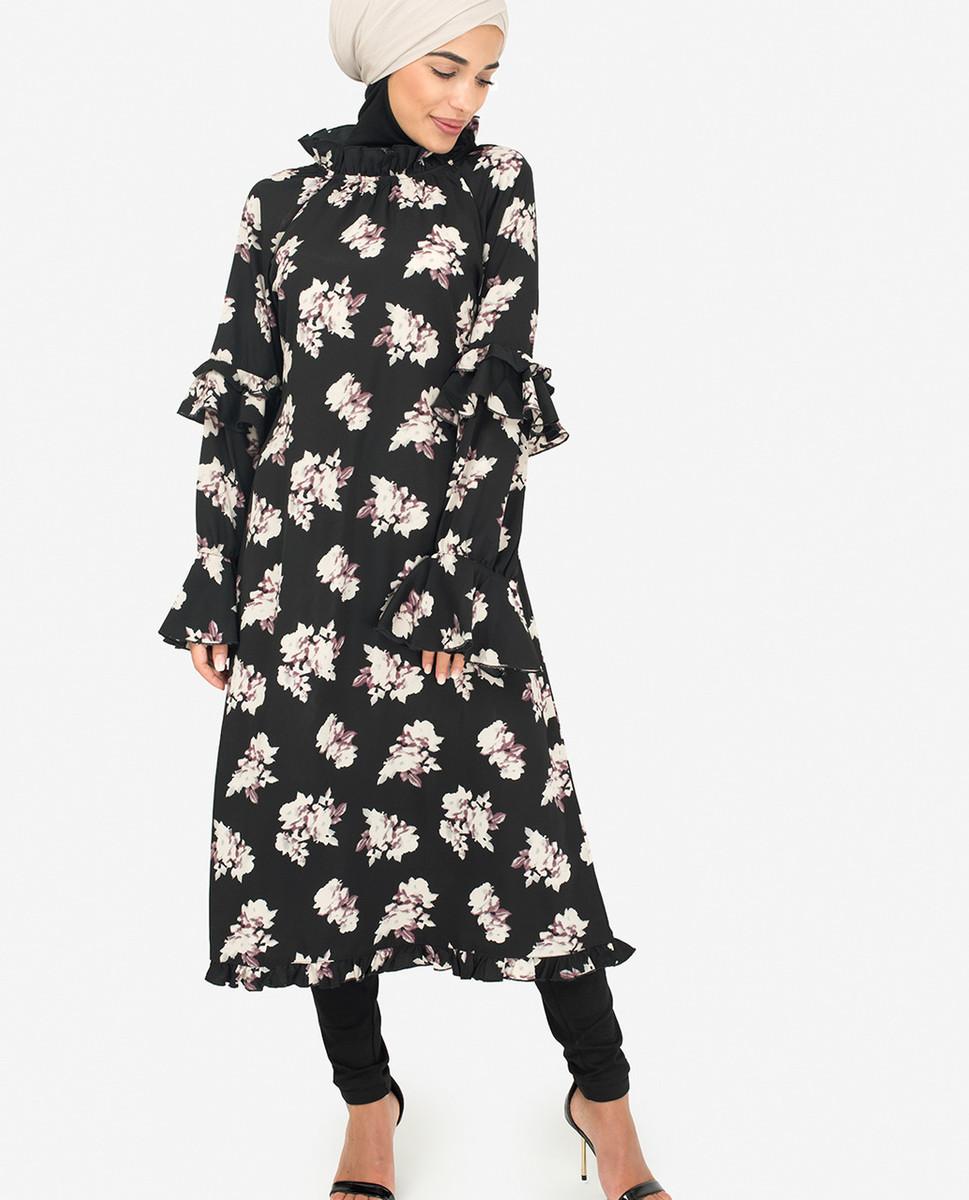 dac45b7951 Black Floral Summer Midi Dress - Great Britain