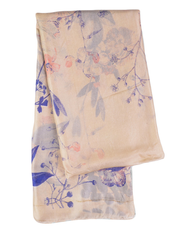 Ivory And Citadel Blue Silk Hijab