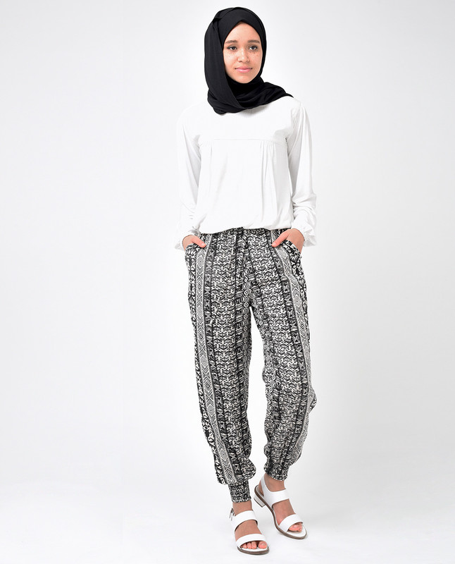 Black and Beige Rayon Loose Fit Trousers