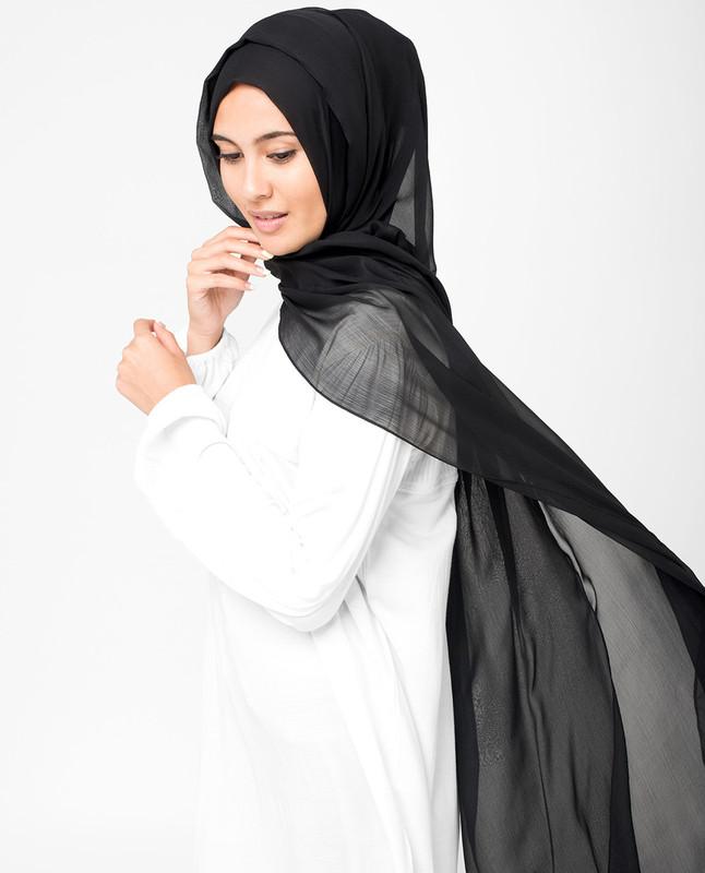 Black PolyChiffon Hijab