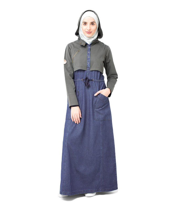 Hooded Denim Jilbab