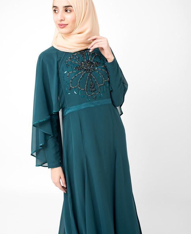 Teal Embellished gown