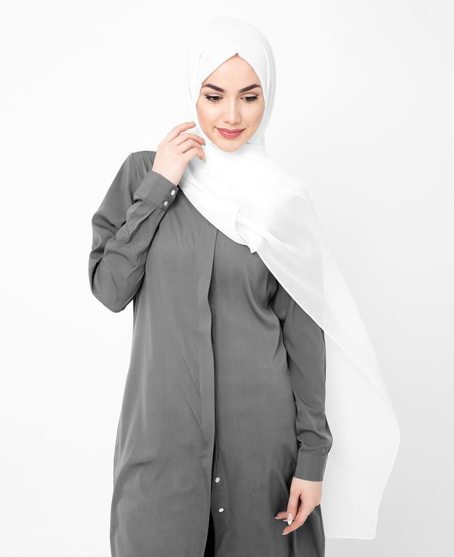 White Poly Georgette Hijab