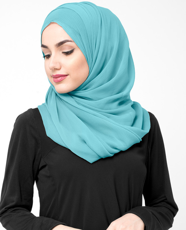 Marine Blue Polychiffon Hijab