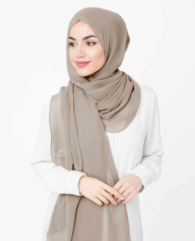 Opal Gray Poly Georgette Hijab