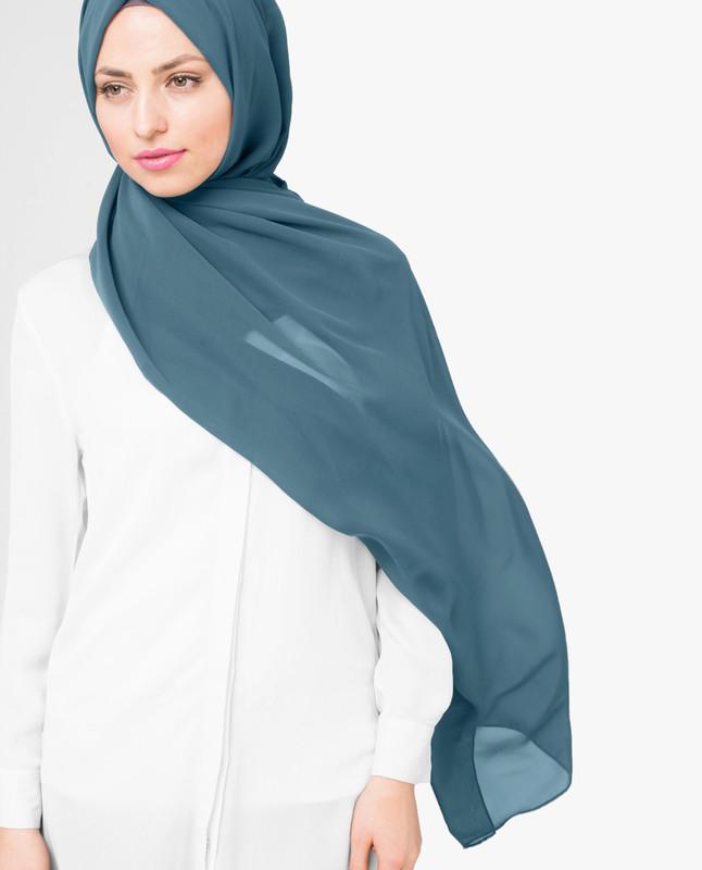 Adriatic Blue Poly Georgette Hijab