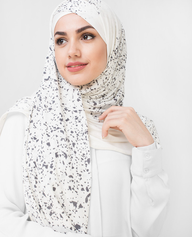 Grey Stoned White Jersey Hijab