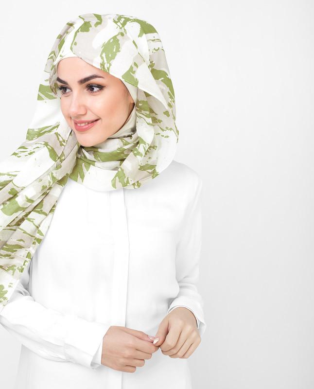 Olive and White Printed Viscose Hijab