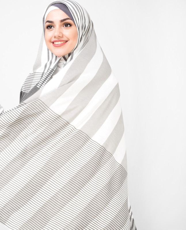 White Grey Shaded Viscose Jersey Hijab