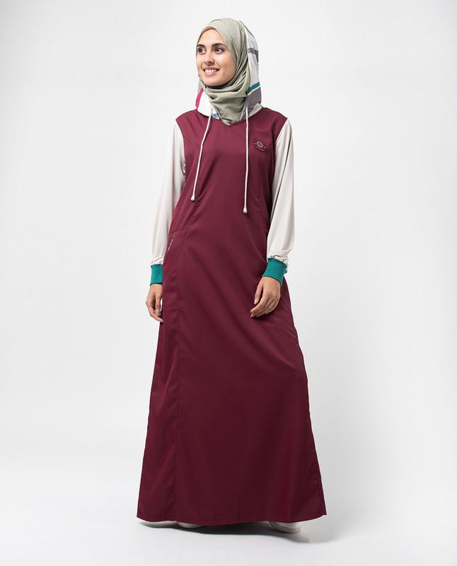 Maroon Hooded Colour Block Print Jilbab