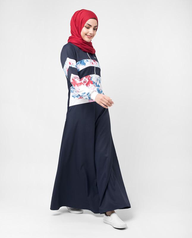 Blue Floral Zip Down Flared Jilbab