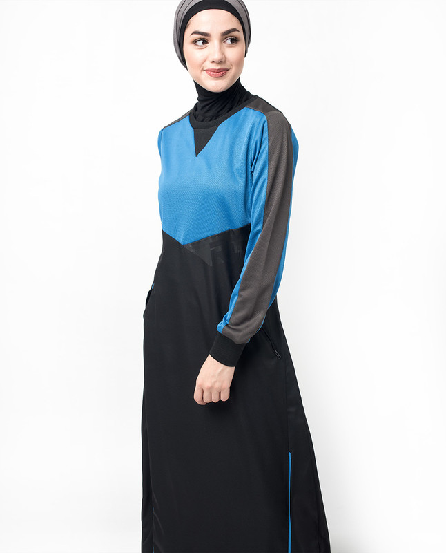 Sports Royal Blue and Black Structured Knit Jilbab