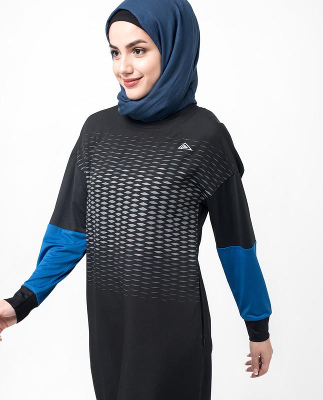 Sports Chic Black Print Jilbab