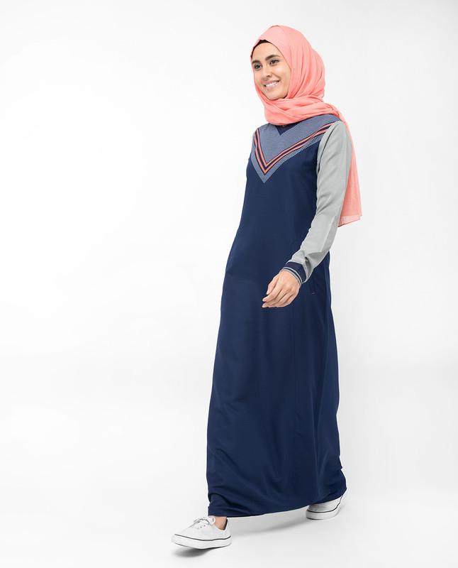 V-Neck Printed Navy Grey Jilbab