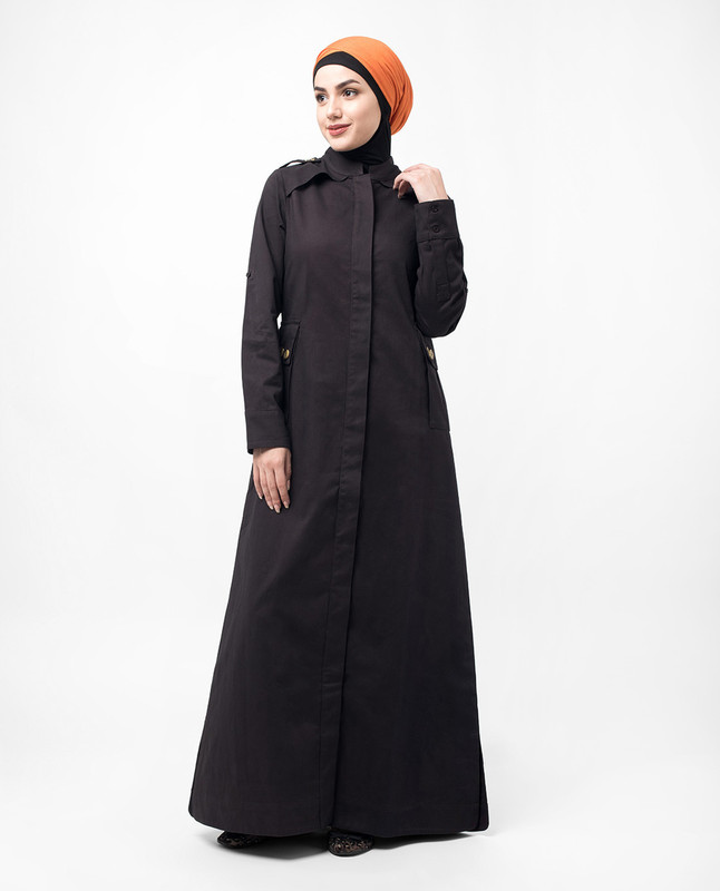Button Down Military Brown Urban Jilbab