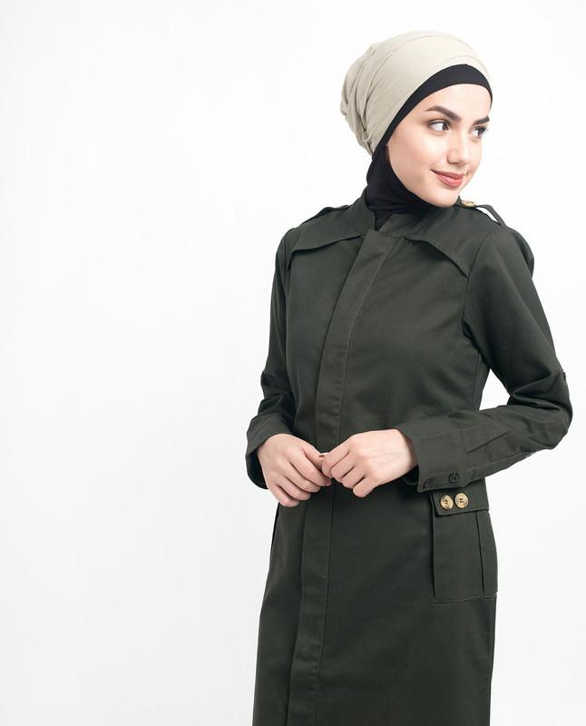 Button Down Military Olive Urban Jilbab