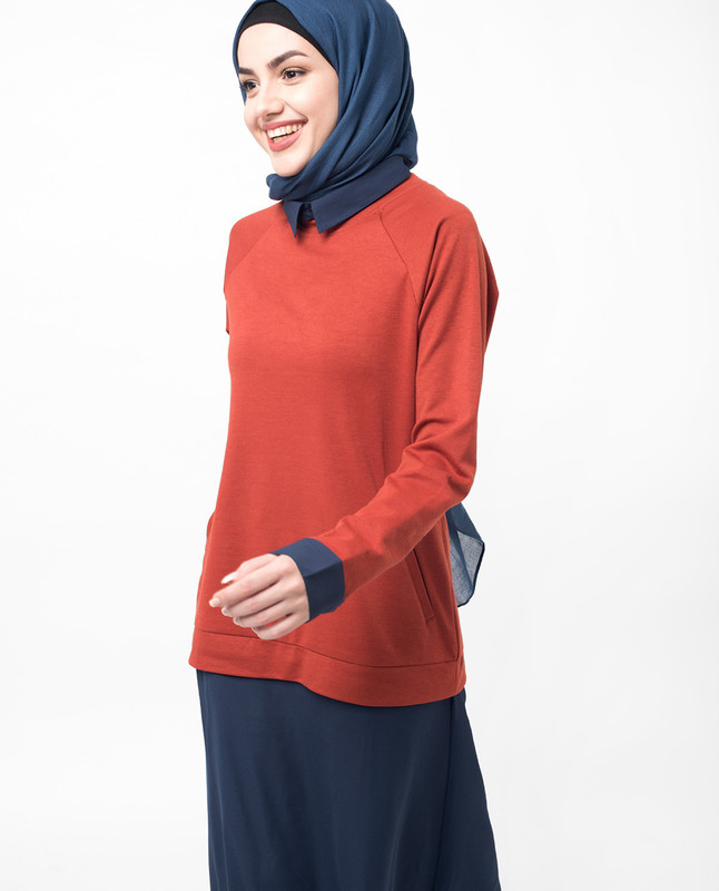 Jumper Dress Orange and Navy Jilbab
