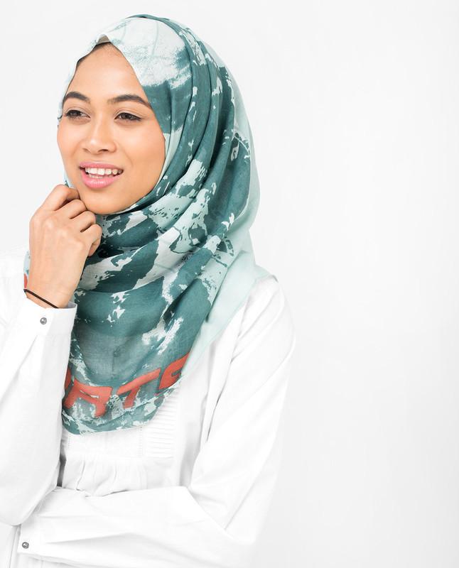 Aqua Abstract Print Viscose Hijab