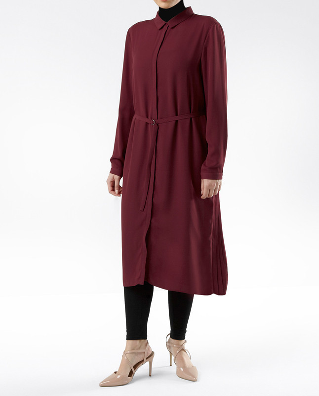 Sahar Burgundy Pleated Shirt Dress