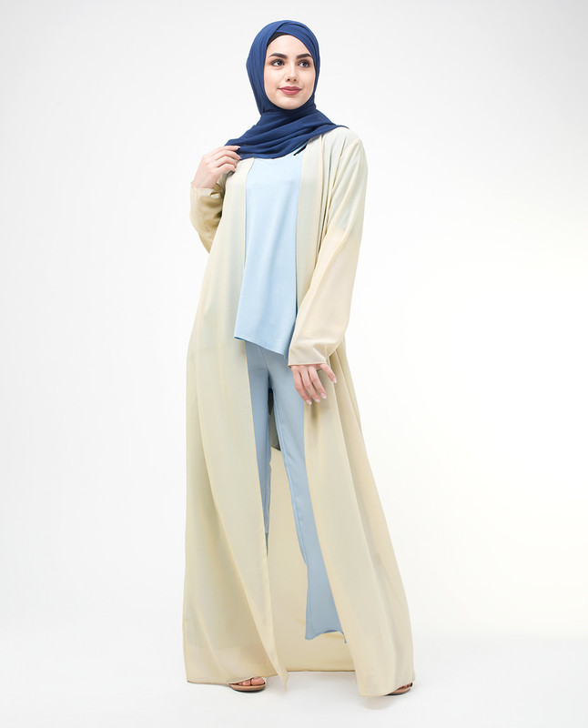 Long Sheer Fog Cream Outerwear