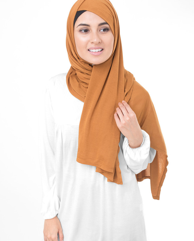 Pumpkin Spice Brown Viscose Jersey Scarf