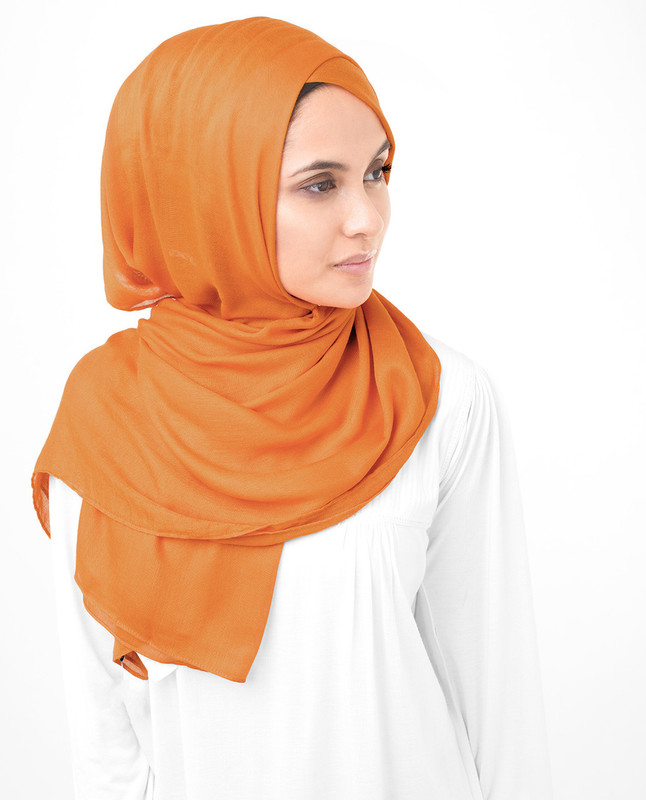 Orange Pepper Viscose Woven Scarf